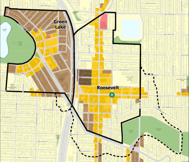 Green Lake and Roosevelt are adjoining urban villages.