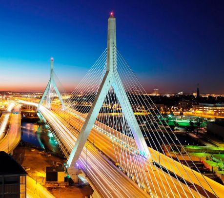 Leonard P Zakim Bunker Hill Bridge, Boston, MA. Photo credit: Wsvan, Creative Commons licence 3.0.