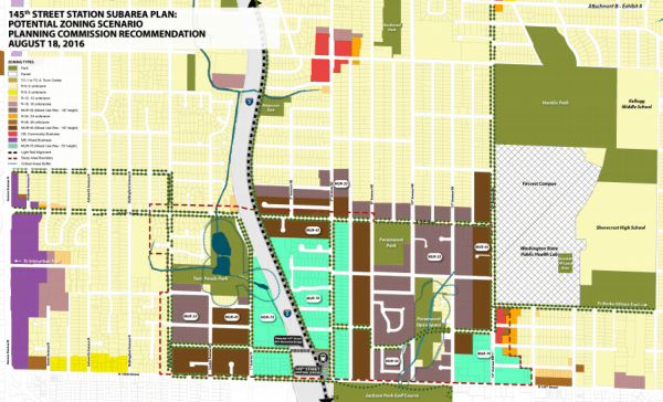 The recommended rezone map proposed by the Planning Commission. (City of Shoreline)