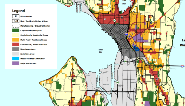 Existing Future Land Use Map; note that some Single Family Areas (light yellow) are located within urban villages. (City of Seattle)
