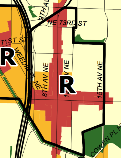 Residential urban village boundary in Roosevelt. (City of Seattle)