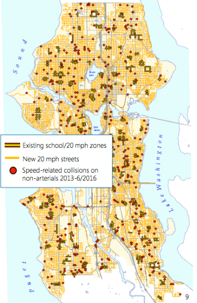 Where 20 mph zones are today and where they will go. (City of Seattle)