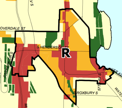 Residential urban village boundary in Rainier Beach. (City of Seattle)