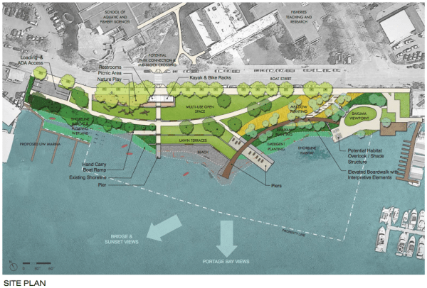 60% design concept for Portage Bay Park. (City of Seattle / Walker Macy)