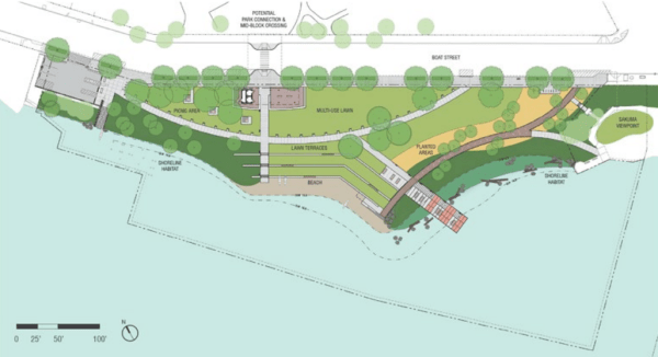 Updated 60% design concept for Portage Bay Park. (City of Seattle / Walker Macy)