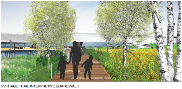 A rendering of what the interpretative boardwalk. (City of Seattle / Walker Macy)