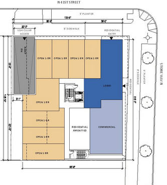 The preferred massing scheme places the lobby in the corner. (Clark Design Group)
