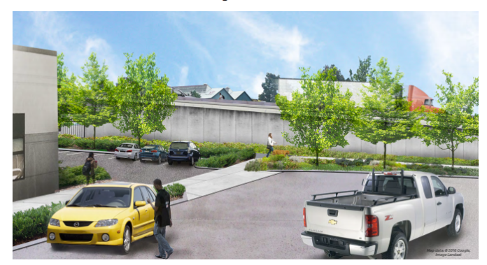 Rendering of the bridge from Occidental Ave S, which would dead end on either side. (CIty of Seattle)