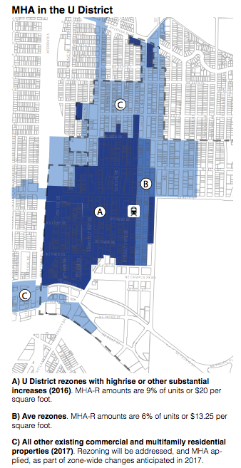 The phasing of MHA in the University District and its environs. (City of Seattle)