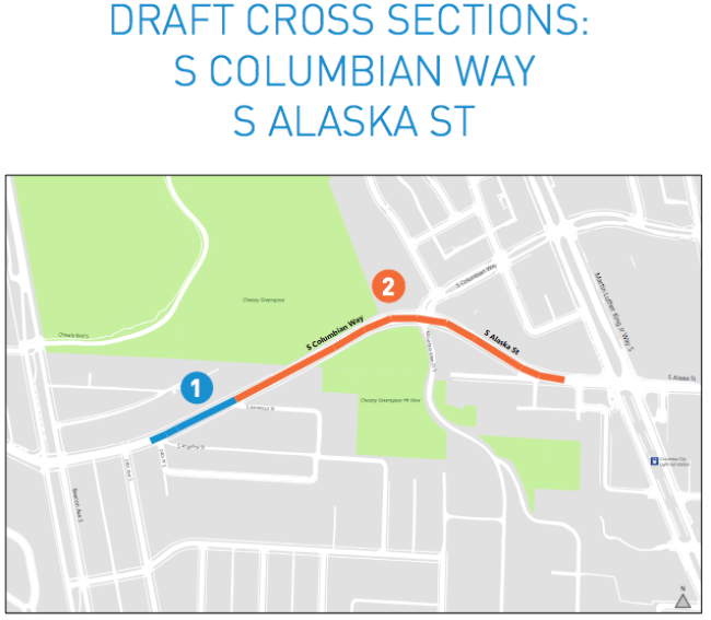 Map key for the S Columbian Way and S Alaska St proposed cross sections. (City of Seattle)