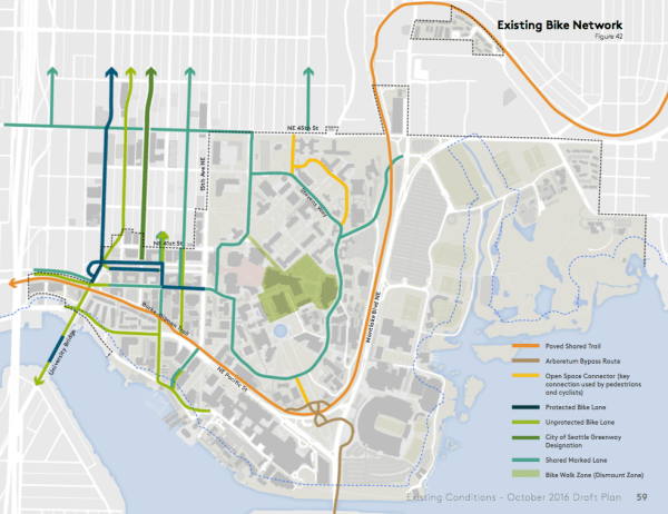 Existing bicycle network throughout the campus. (University of Washington)