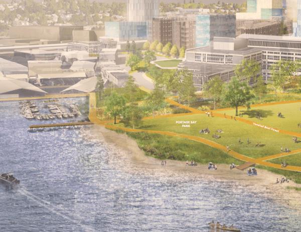 Western view of Portage Bay Park. (University of Washington)