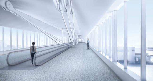 Interior of the skybridge which hopefully will bring spectacular views of Mount Rainier and Puget Sound. (Port of Seattle)