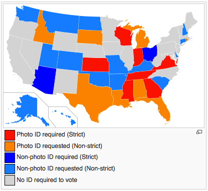 Strict Voter ID laws tend to be enacted in Republican-controlled states.
