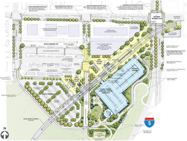 Lynnwood is going to have a large parking garage but it will be positioned next to the freeway to minimize its footprint. (Sound Transit)