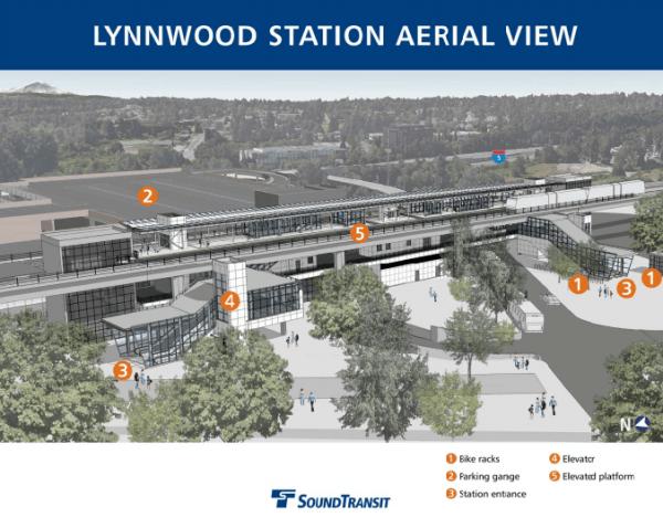 Aerial view of Lynnwood Station. (Sound Transit)