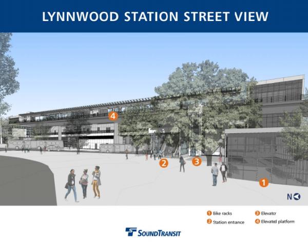 Street view of Lynnwood Station. (Sound Transit)