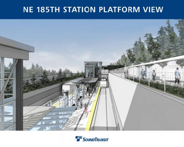 Platform view of NE 185th St Station. (Sound Transit)