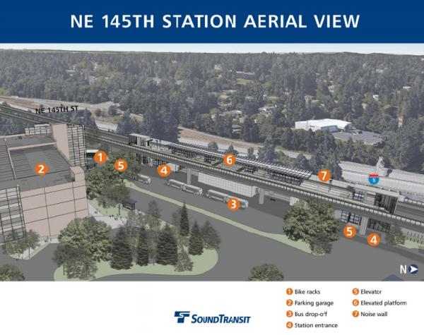 Aerial view of NE 145th St Station. (Sound Transit)