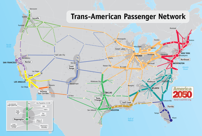 America 2050 sees high speed rail's future as a megaregion connector but not a cross country connector. (America 2050)