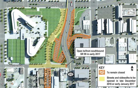 General overview of open and closed streets in the North Portal construction area. (WSDOT)