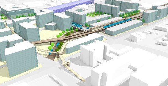 Concept for a Broadway light rail station, busway, and mixed-mode bridge. (City of Everett)