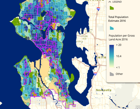 Gap analysis in relationship to population density. (City of Seattle)