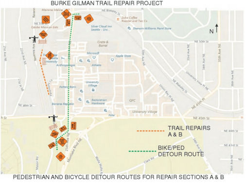 Detours and trail repairs in and around the Burke-Gilman Trail.