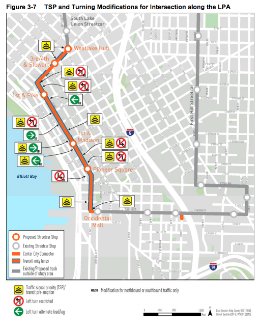 Transit priority improvements for the Center City Connector. (City of Seattle)