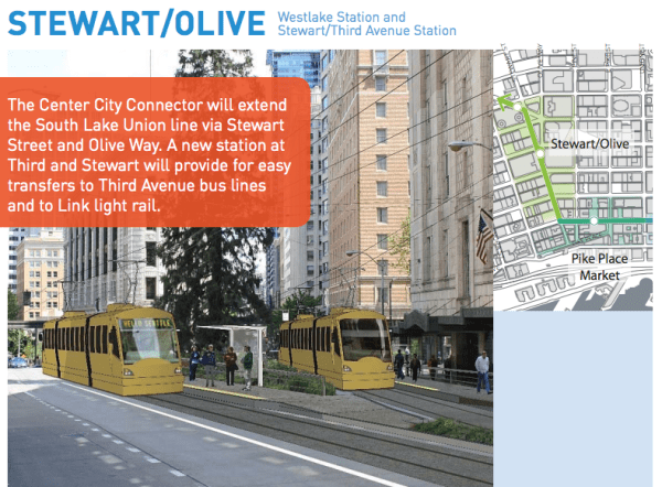 A proposed new station at Stewart Street and Third Avenue near Westlake Station. (City of Seattle)