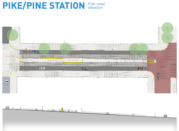 Plan and elevation view of the station at Pike Street on First Avenue. (City of Seattle)
