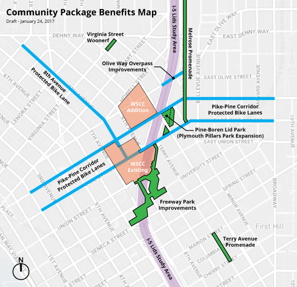 "The Community Package Benefits Map. Affordable housing within one mile, additional potential I-5 lid study areas, and the I-5 overpasses ""kit of parts"" are not shown."