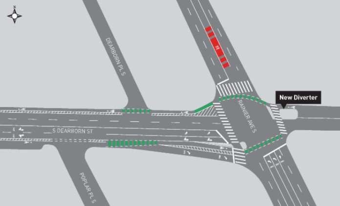 Proposed street configuration of Dearborn Street and intersection with Rainier Avenue. (City of Seattle)