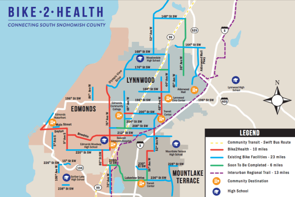 The proposed, under construction, and existing bike network in Southwest Snohomish County. (Verdant Health Commission)