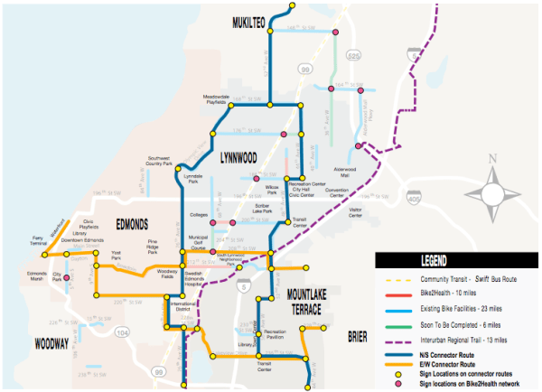 Concept for Bike2Health north-south and east-west corridors. (Verdant Health Commission)