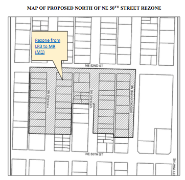 Proposed rezone to MR (M1) north of NE 50th St. (City of Seattle)