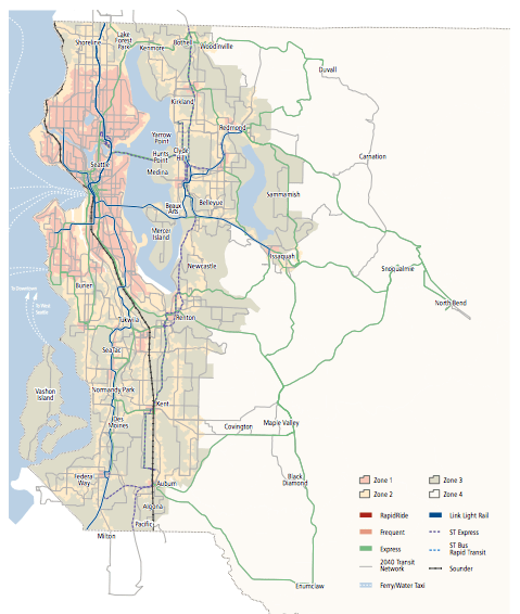 Future transit access zones. (King County)
