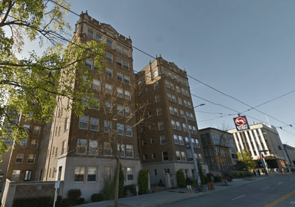 The Malloy Apartments were highlighted in both SDC report and The Seattle Times article. They account for 8% of SDC's estimated displacement.(Google Streetview)