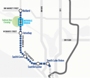 Likely light rail alignment to Ballard and Downtown. (Sound Transit)