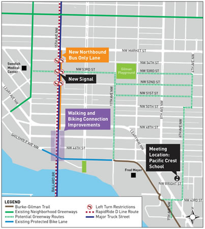 Existing and proposed transportation facilities for Ballard. (City of Seattle)