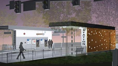 Rendering of the Bel-Red Station after dark. (Sound Transit)