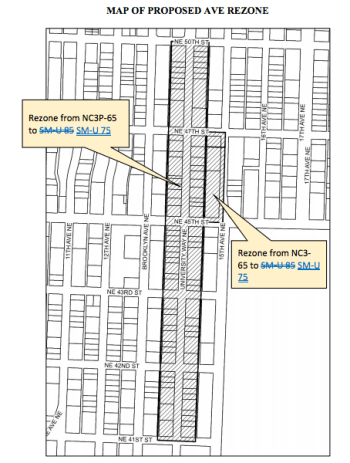 Proposed rezone of The Ave south of NE 50th St had been considered for changes to SM-U 75, but now the rezone is entirely removed from the proposal. (City of Seattle)