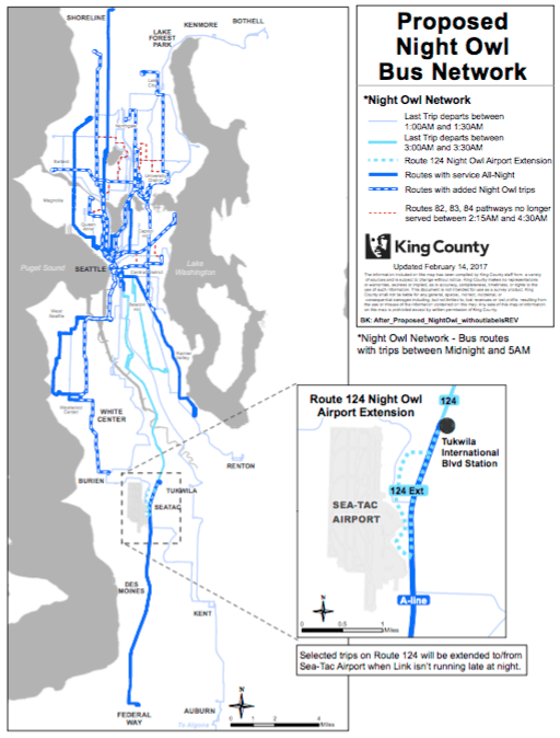 Proposed changes to Metro's Night Owl bus network. (King County)