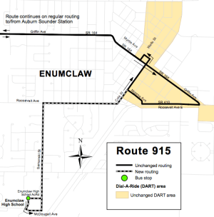 The Enumclaw area service change for Route 915. (King County)