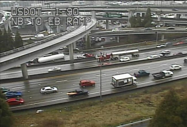 The massive I-90 and I-5 interchange is not a good spot for a major collision. Downtown Seattle roads turn into a giant parking lot. (WSDOT)