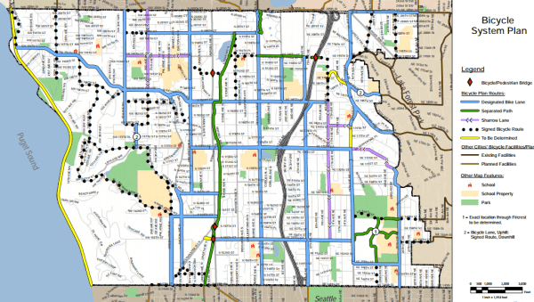 Long-range bike plan for Shoreline. Note that the rail-trail wasn't identified in the 2011 plan. (City of Shoreline)