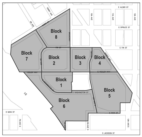 The eight blocks planned for Yesler Terrace's redevelopment. (City of Seattle)
