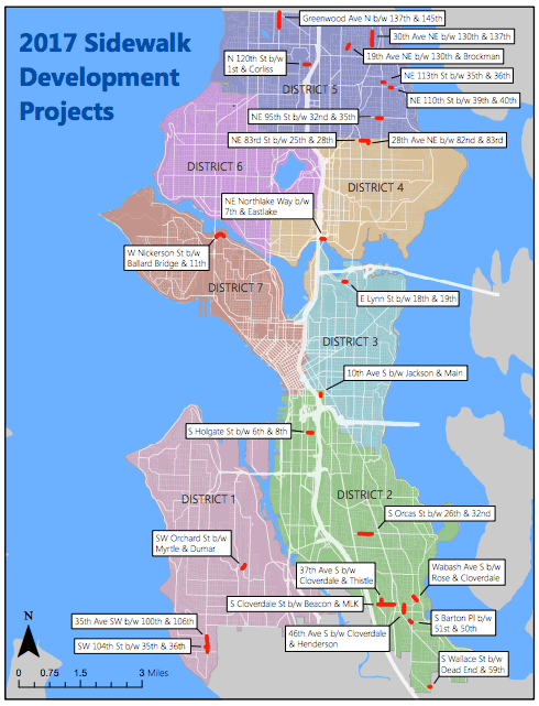 Where new sidewalk investments for 2017 would go. (City of Seattle)