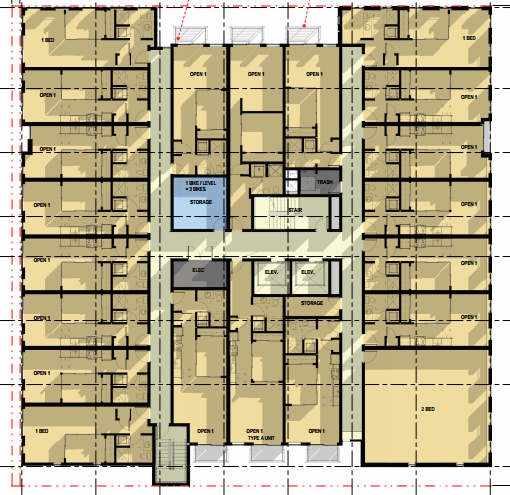 Layout of units on the third through seventh floors. (Encore Architects, PLLC / City Seattle)