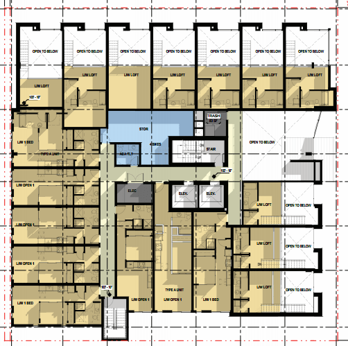 Layout of live-work units on the second floor. (Encore Architects, PLLC / City Seattle)